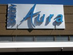 Salon Aura unique wall sign with reverse lit channel letters by Signs Manufacturing